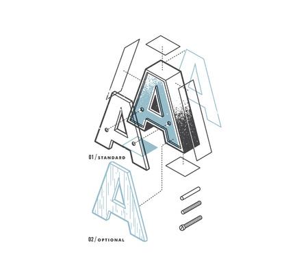 Exploded alphabet by Matt Stevens